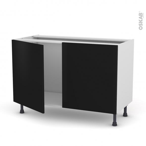 meuble de cuisine sous vier ginko noir 2 portes l120 x h70 x p58 cm oskab. Black Bedroom Furniture Sets. Home Design Ideas