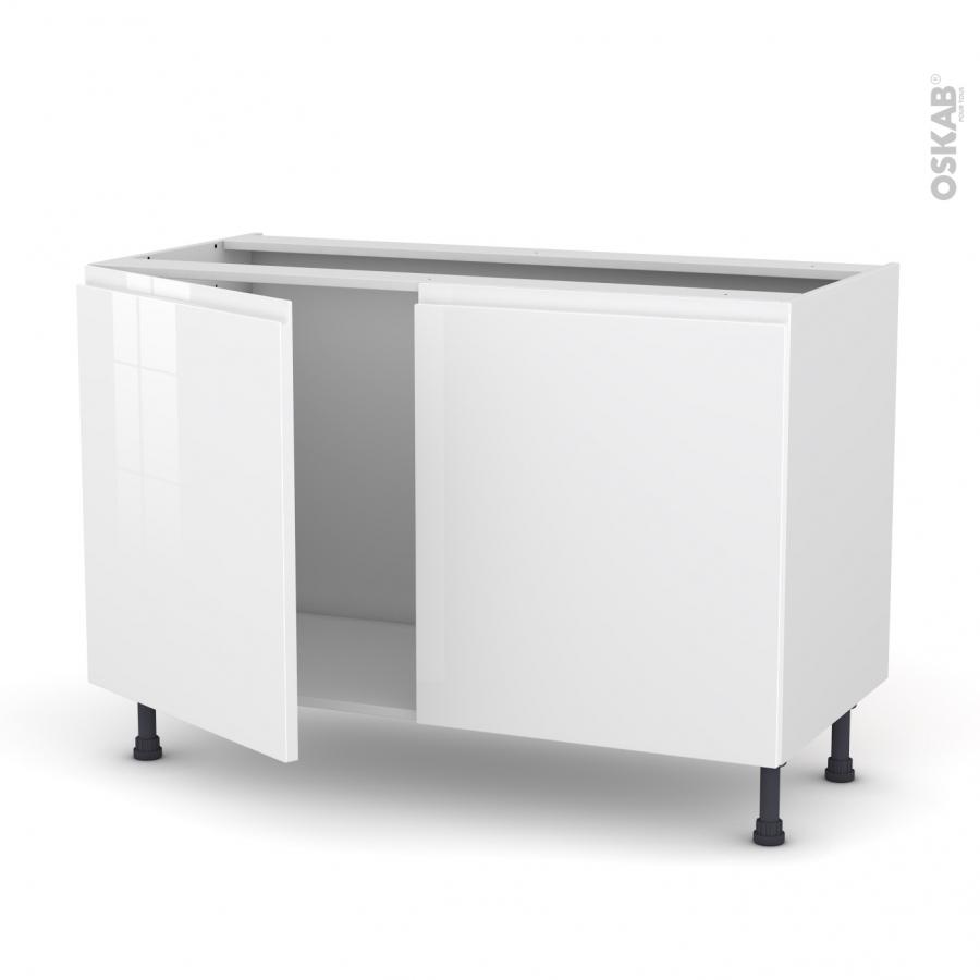meuble de cuisine sous vier ipoma blanc brillant 2 portes l120 x h70 x p58 cm oskab. Black Bedroom Furniture Sets. Home Design Ideas