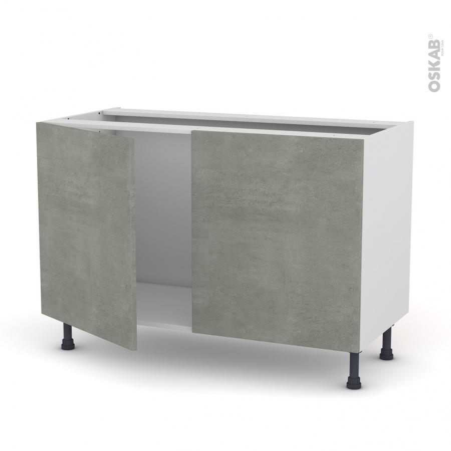 Meuble de cuisine sous vier fakto b ton 2 portes l120 x for Meuble sous evier de cuisine