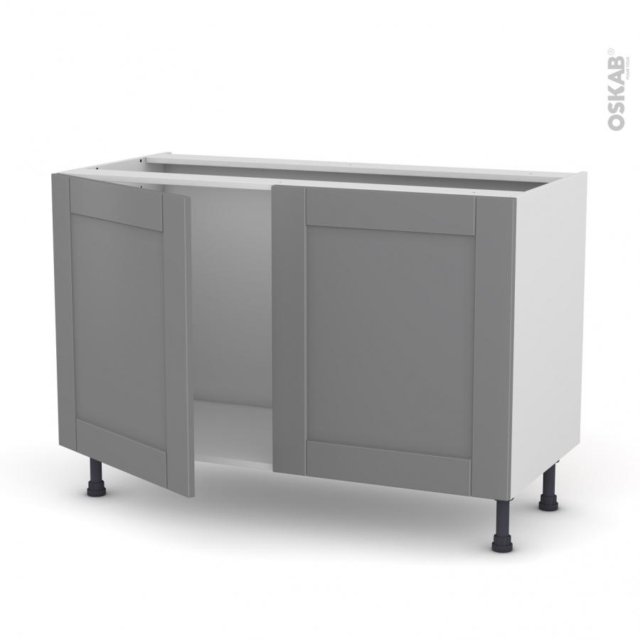 Meuble de cuisine sous vier filipen gris 2 portes l120 x for Meuble sous evier de cuisine