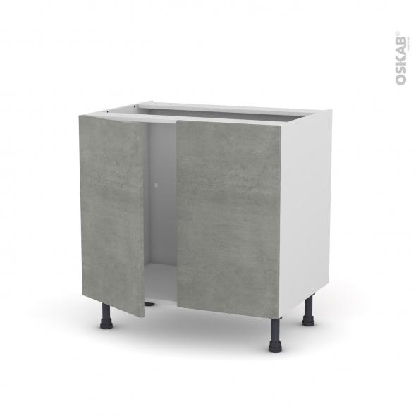 Meuble de cuisine sous vier fakto b ton 2 portes l80 x for Evier cuisine 70 cm