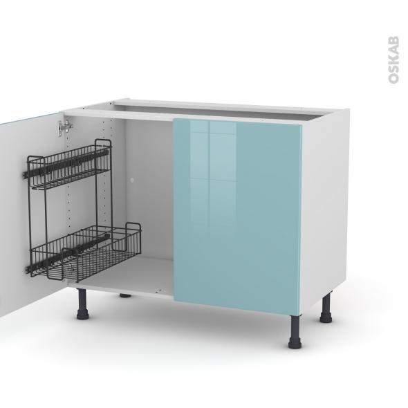 Meuble de cuisine sous vier keria bleu 2 portes lessiviel l100 x h70 x p58 cm oskab - Meuble cuisine bleu ...