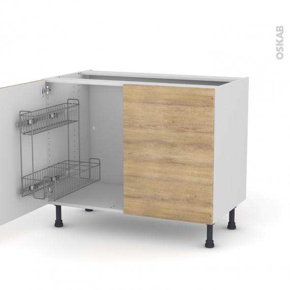 Hosta ch ne naturel meuble sous vier 2 portes lessiviel l100xh70xp58 oskab - Monter un meuble sous evier ...