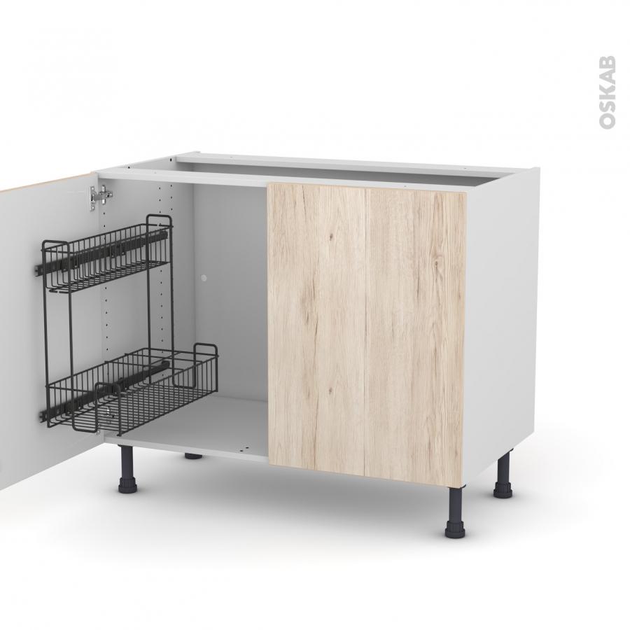 meuble de cuisine sous vier ikoro ch ne clair 2 portes lessiviel l100 x h70 x p58 cm oskab. Black Bedroom Furniture Sets. Home Design Ideas