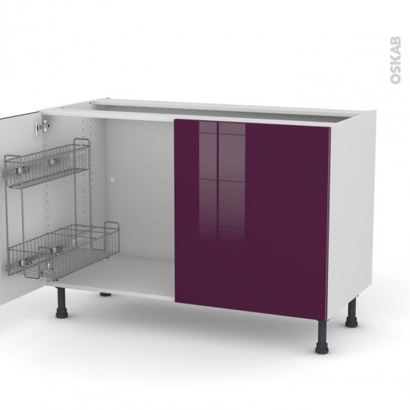 Meuble sous vier 2 portes lessiviel l120xh70xp58 keria - Meuble de cuisine aubergine ...