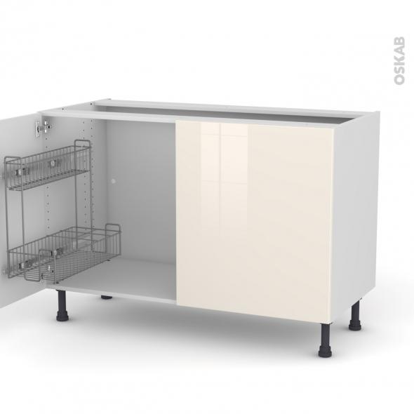 Keria ivoire meuble sous vier 2 portes lessiviel for Modele evier de cuisine