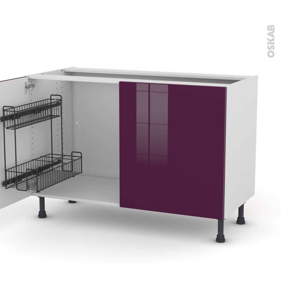 meuble de cuisine sous vier keria aubergine 2 portes lessiviel l120 x h70 x p58 cm oskab. Black Bedroom Furniture Sets. Home Design Ideas
