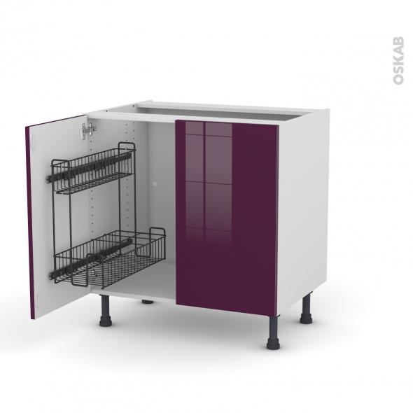 meuble de cuisine sous vier keria aubergine 2 portes. Black Bedroom Furniture Sets. Home Design Ideas