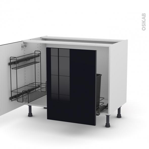 Meuble de cuisine sous vier keria noir 2 portes lessiviel poubelle coulissante l100 x h70 x p58 for Meuble noir porte coulissante