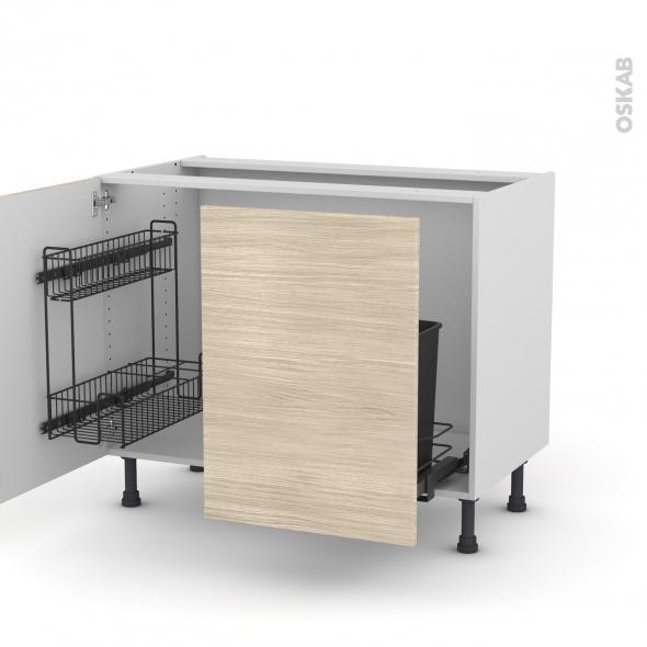 Meuble de cuisine sous vier stilo noyer blanchi 2 portes for Tablette meuble cuisine