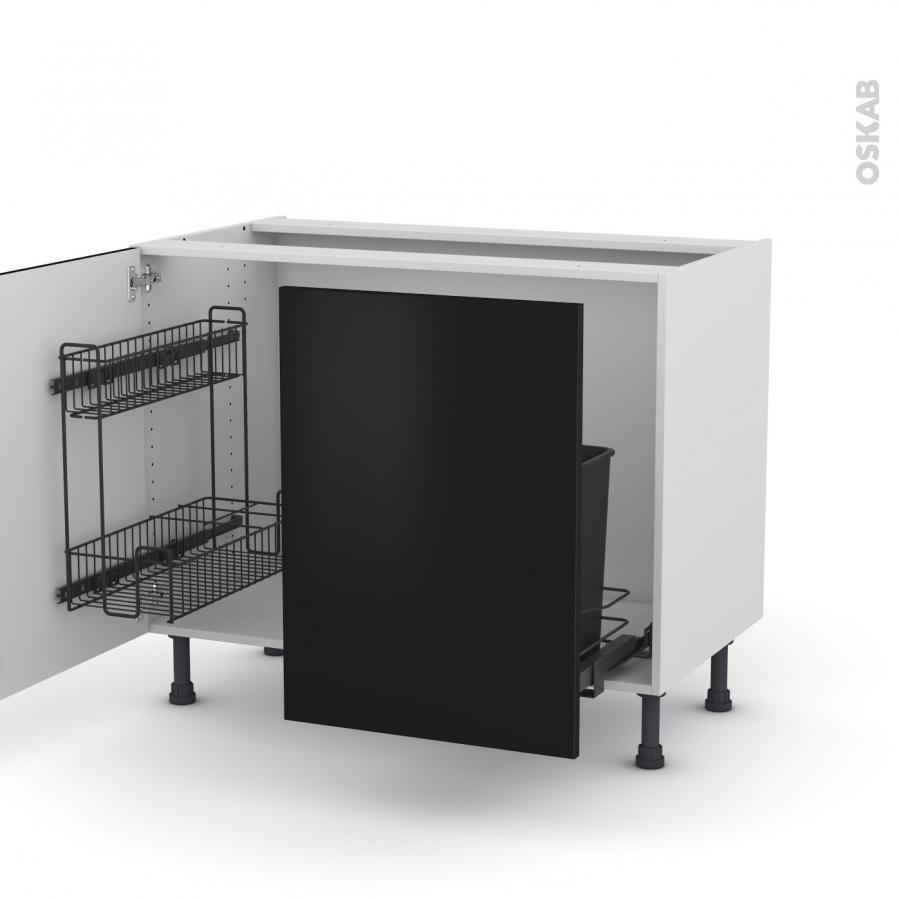 Meuble de cuisine sous vier ginko noir 2 portes lessiviel - Meuble de cuisine avec porte coulissante ...