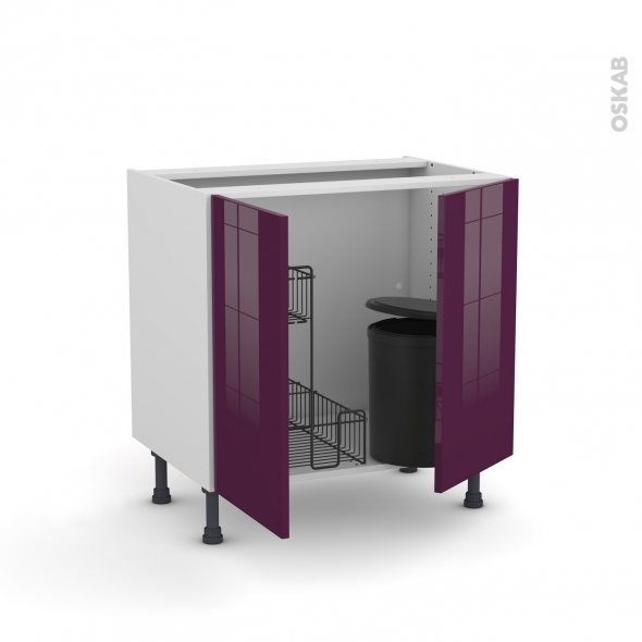 meuble de cuisine sous vier keria aubergine 2 portes lessiviel poubelle ronde l80 x h70 x p58. Black Bedroom Furniture Sets. Home Design Ideas