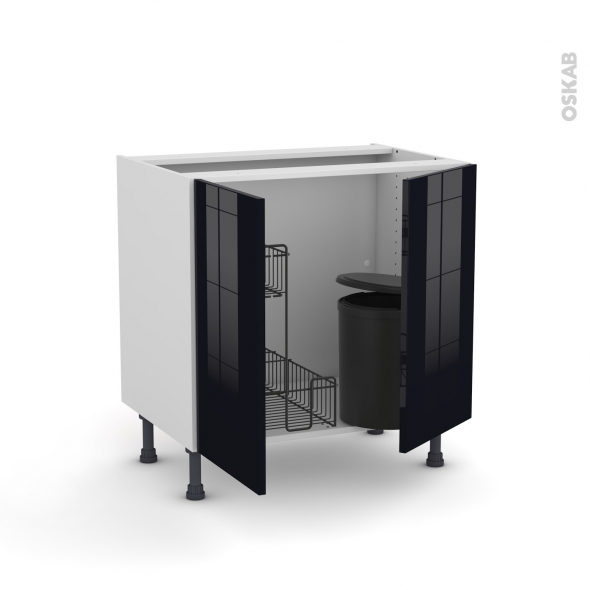 meuble de cuisine sous vier keria noir 2 portes lessiviel poubelle ronde l80 x h70 x p58 cm oskab. Black Bedroom Furniture Sets. Home Design Ideas