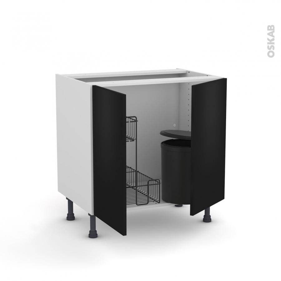 Meuble de cuisine sous vier ginko noir 2 portes lessiviel for Evier noir 80 cm