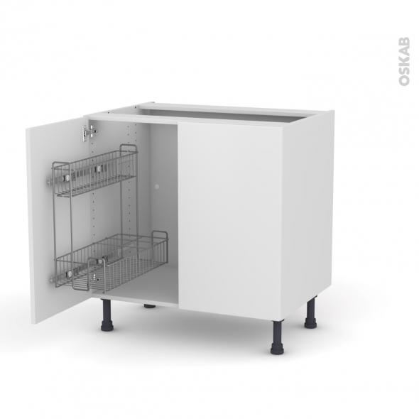 Meuble sous vier 2 portes lessiviel l80xh70xp58 ginko blanc oskab - Monter un meuble sous evier ...