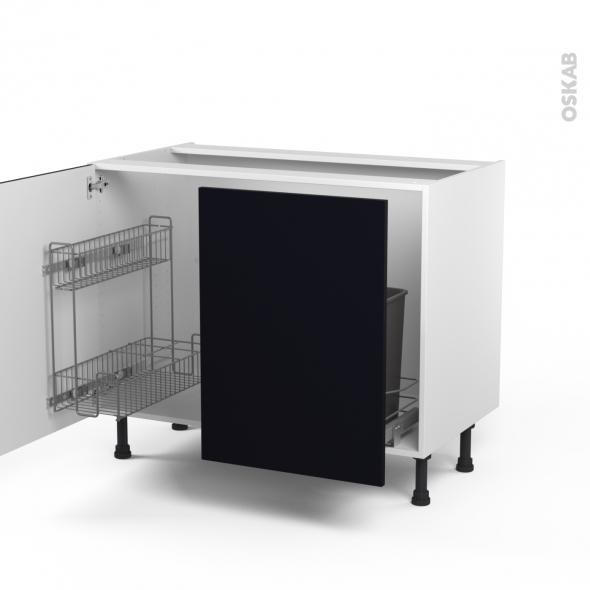 Meuble sous vier 2 portes lessiviel poubelle coulissante l100xh70xp58 ginko noir oskab for Meuble noir porte coulissante