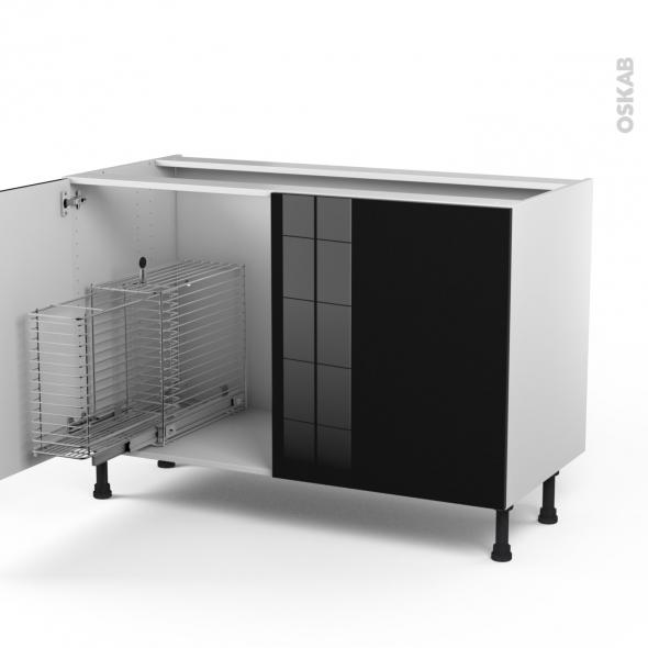 Keria noir meuble sous vier 2 portes rangement coulissant s curit enfant l1 - Monter un meuble sous evier ...