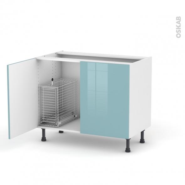 Keria bleu meuble sous vier 2 portes rangement coulissant for Rangement sous evier cuisine