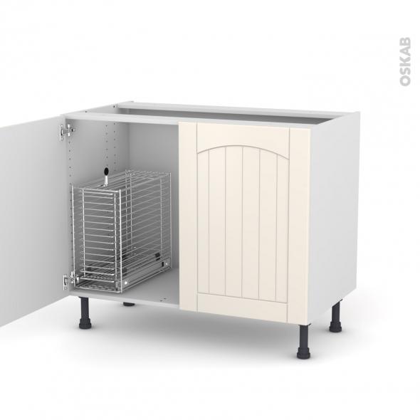 silen ivoire meuble sous vier 2 portes rangement coulissant s curit enfant l100xh70xp58 oskab. Black Bedroom Furniture Sets. Home Design Ideas