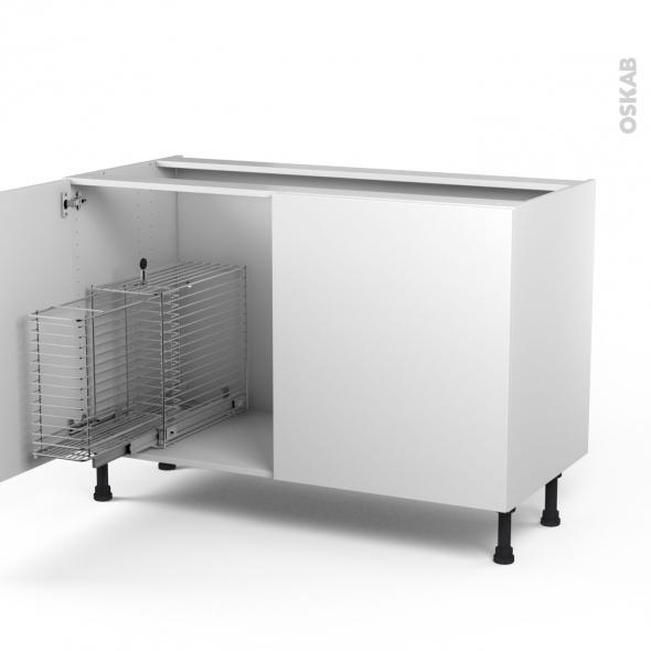 Ginko blanc meuble sous vier 2 portes rangement coulissant s curit enfant l120xh70xp58 oskab - Rangement sous evier coulissant ...