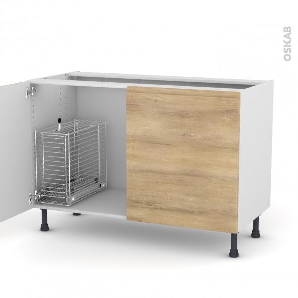 Ipoma ch ne naturel meuble sous vier 2 portes rangement - Monter un meuble sous evier ...