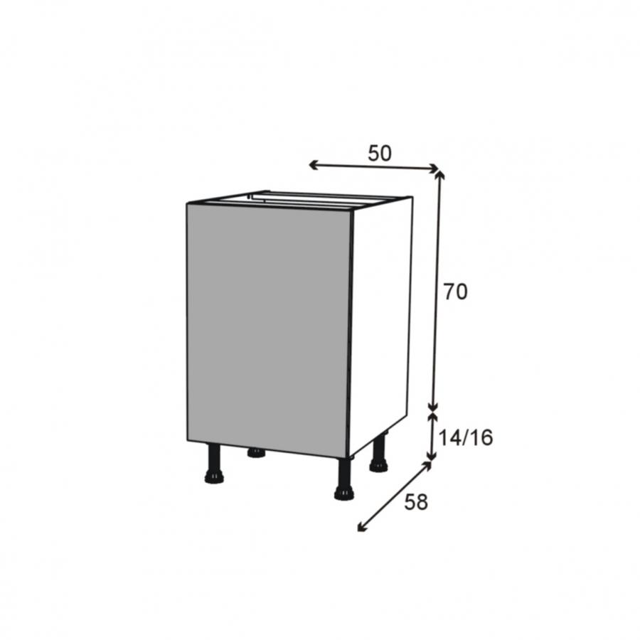 Meuble sous vier 1 porte coulissante l50xh70xp58 stecia Facade meuble cuisine largeur 50