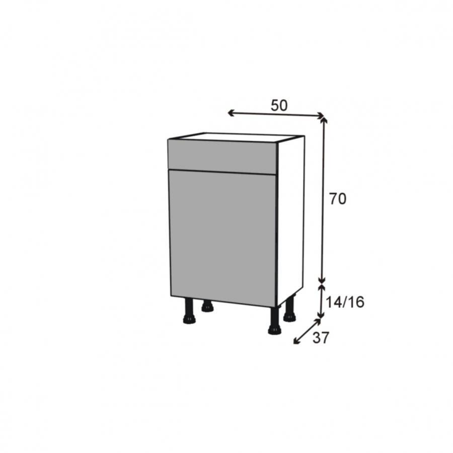 Meuble bas 1 porte 1 tiroir l50xh70xp37 ginko for Meuble bas hauteur 110
