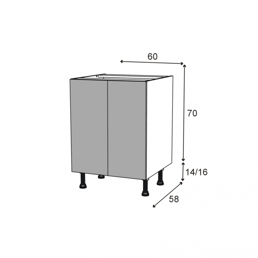 Meuble de cuisine bas ikoro ch ne clair 2 portes l60 x h70 for Porte cuisine 60 x 30