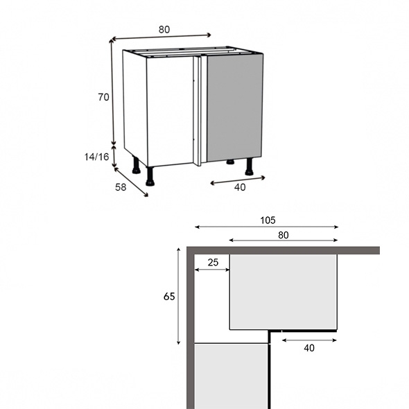 Meuble De Cuisine Angle Bas R Versible Keria Moka 1 Porte