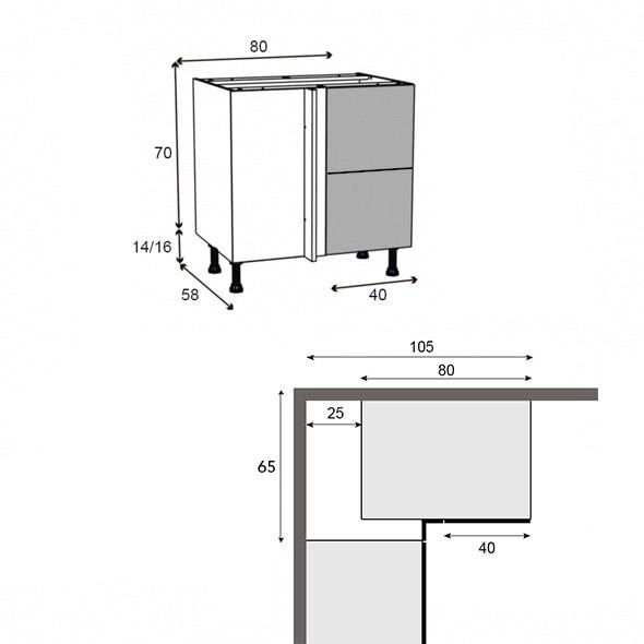 Meuble de cuisine angle bas ginko taupe demi lune for Dimension meuble bas cuisine