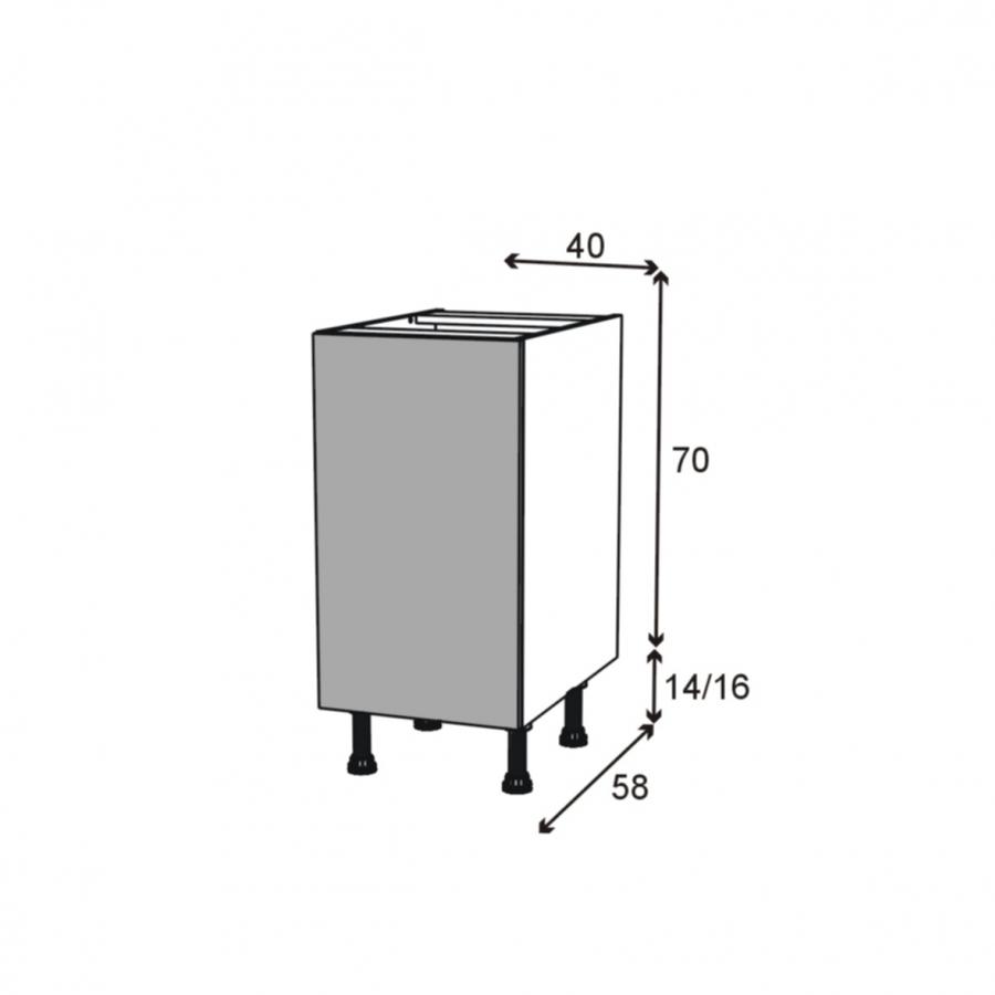 Meuble de cuisine bas vitr fa ade alu 1 porte l40 x h70 x for Facade porte pour meuble cuisine