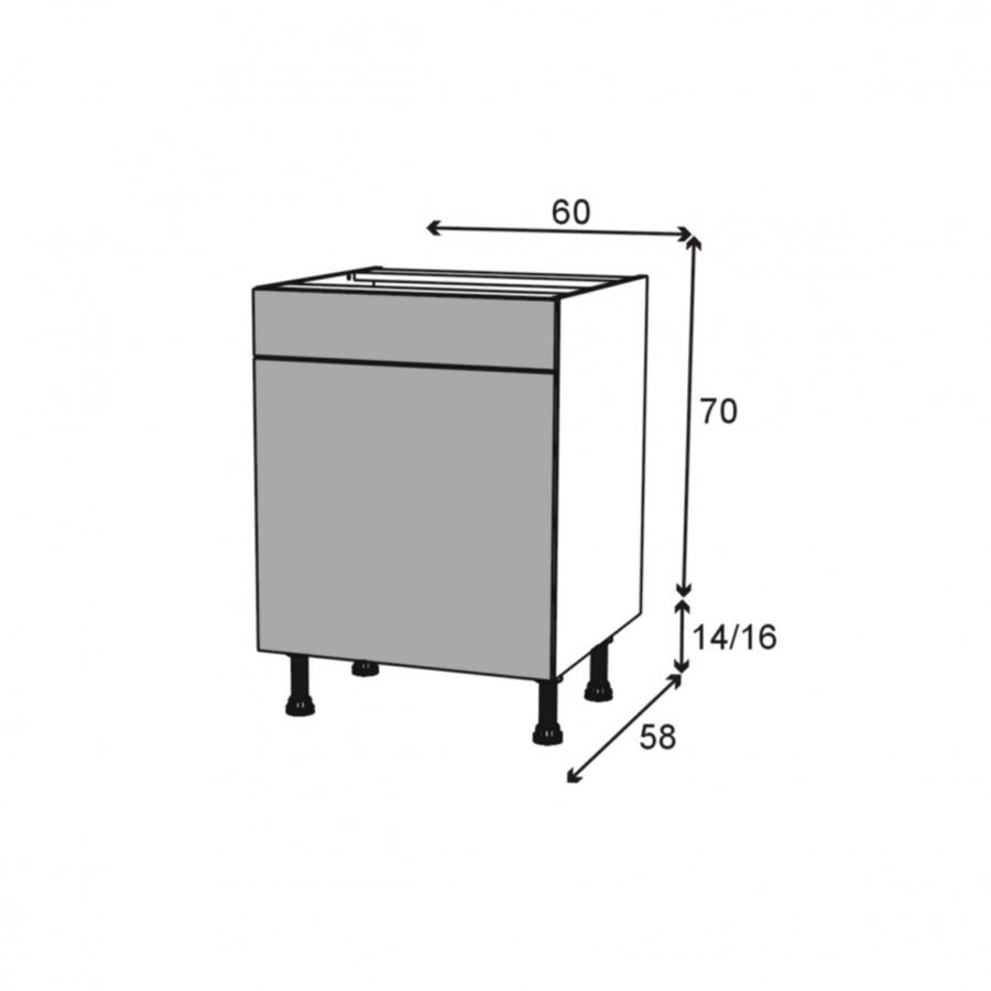 Meuble de cuisine bas ipoma blanc brillant 1 porte 1 for Modele meuble cuisine
