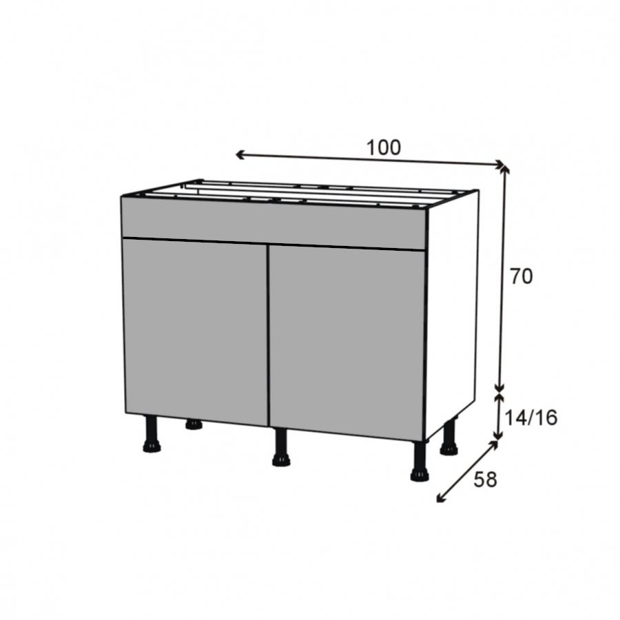 Meuble de cuisine bas fakto b ton 2 portes 1 tiroir l100 x for Dimension meuble bas cuisine