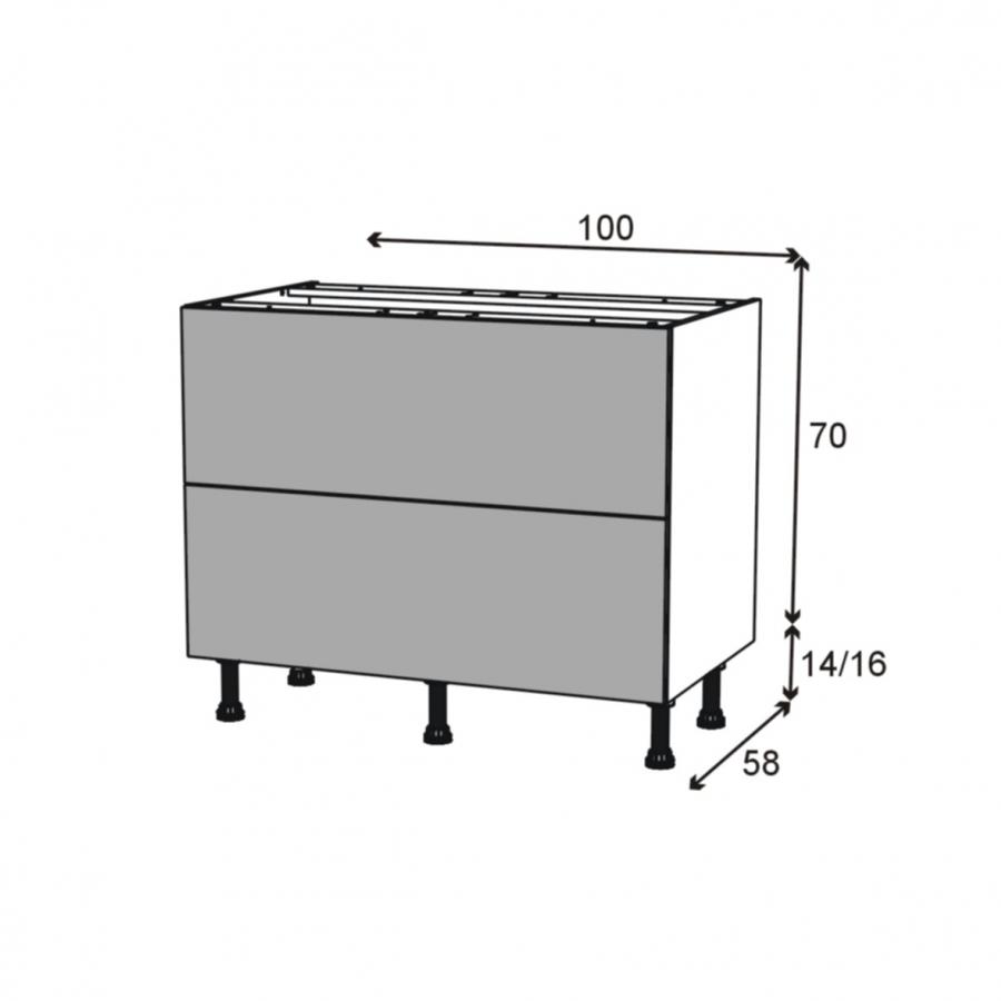 Silen ivoire meuble casserolier 2 tiroirs l100xh70xp58 oskab for Meuble cuisine a tiroir