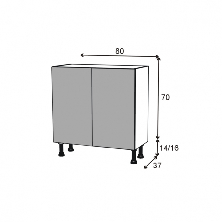 meuble de cuisine bas vitr fa ade alu 2 portes l80 x h70. Black Bedroom Furniture Sets. Home Design Ideas