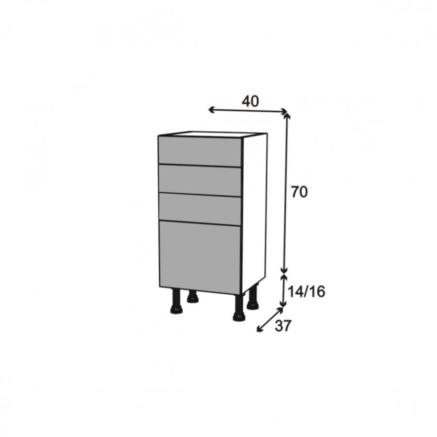 Meuble de cuisine bas stecia gris 4 tiroirs l40 x h70 x - Meuble bas cuisine 37 cm profondeur ...