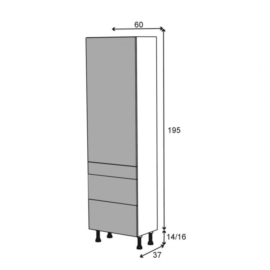 Colonne de cuisine n 2758 armoire tag re ginko blanc 3 for Colonne cuisine tiroir