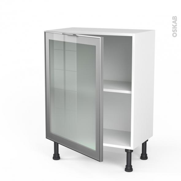Meuble de cuisine bas vitr fa ade alu 1 porte l60 x h70 x p37 cm sokleo oskab - Porte de cuisine vitree ...