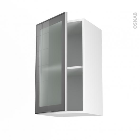 Meuble haut ouvrant h70 fa ade alu vitr e 1 porte for Meuble haut porte vitree