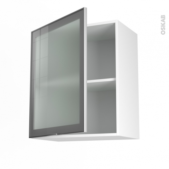 Meuble haut ouvrant h70 fa ade alu vitr e 1 porte for Meuble cuisine haut porte vitree