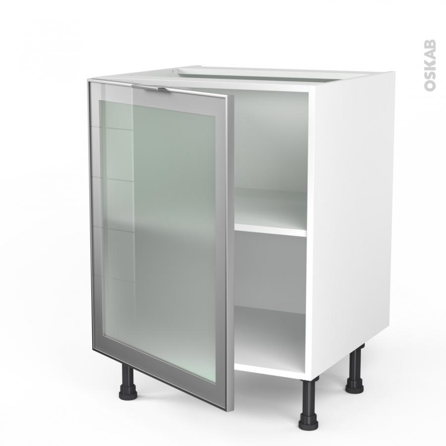 meuble de cuisine bas vitr fa ade alu 1 porte l60 x h70 x p58 cm sokleo oskab. Black Bedroom Furniture Sets. Home Design Ideas