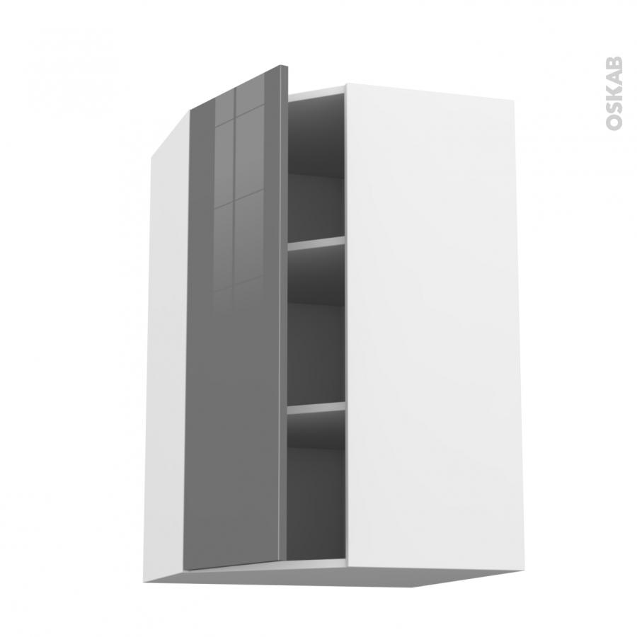 Meuble de cuisine angle haut stecia gris 1 porte n 23 l40 for Meuble cuisine 15 cm