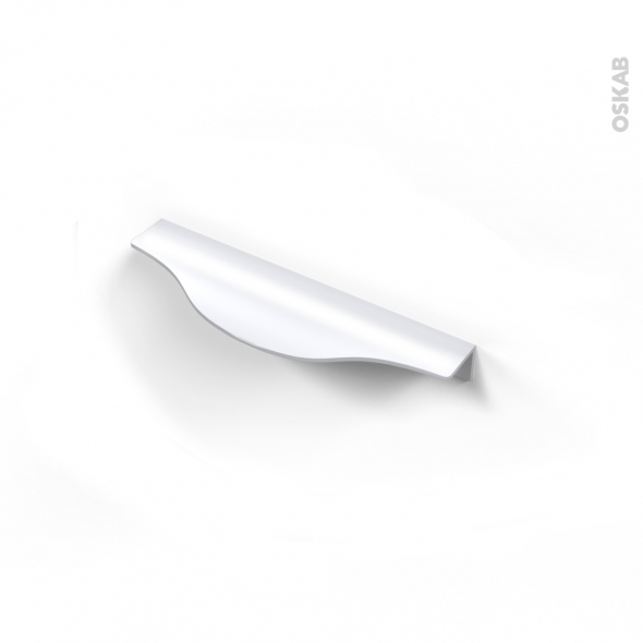Poign e de meuble de cuisine n 58 alu mat blanc 14 6 cm - Poignee cuisine entraxe 128 ...