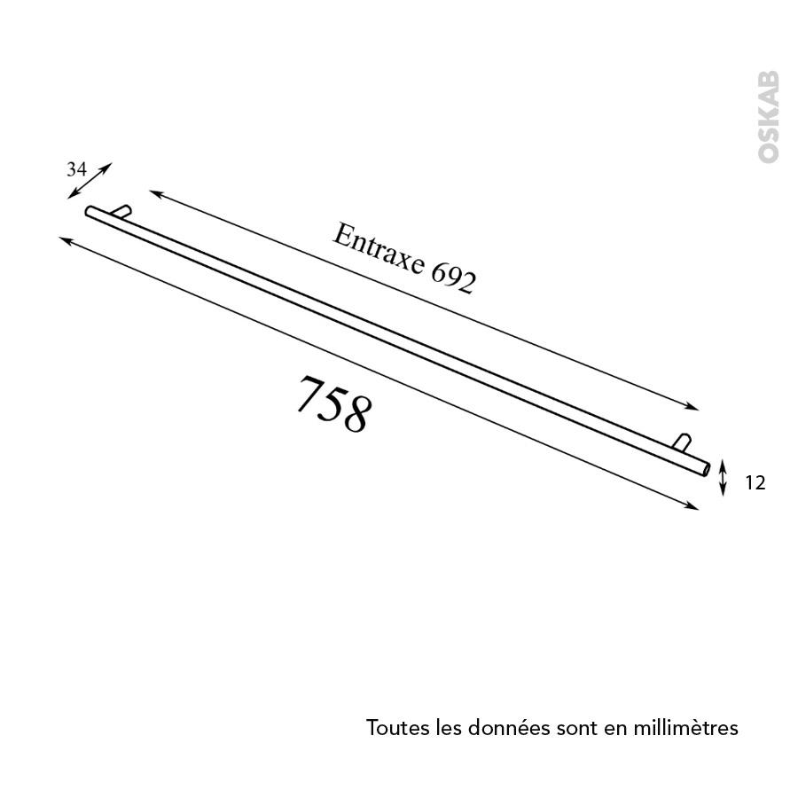 Poign e de meuble de cuisine n 16 inox bross 75 8 cm for Meuble cuisine inox brosse