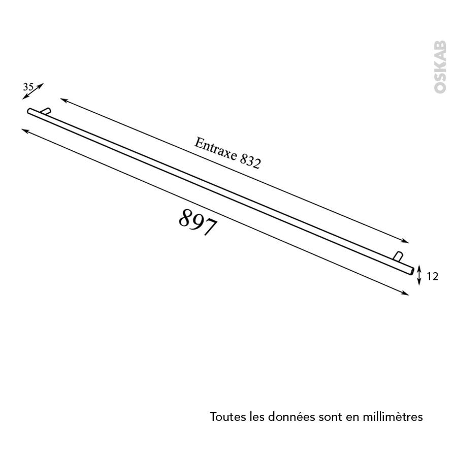 Poign e de meuble de cuisine n 16 inox bross 89 7 cm for Meuble cuisine inox brosse
