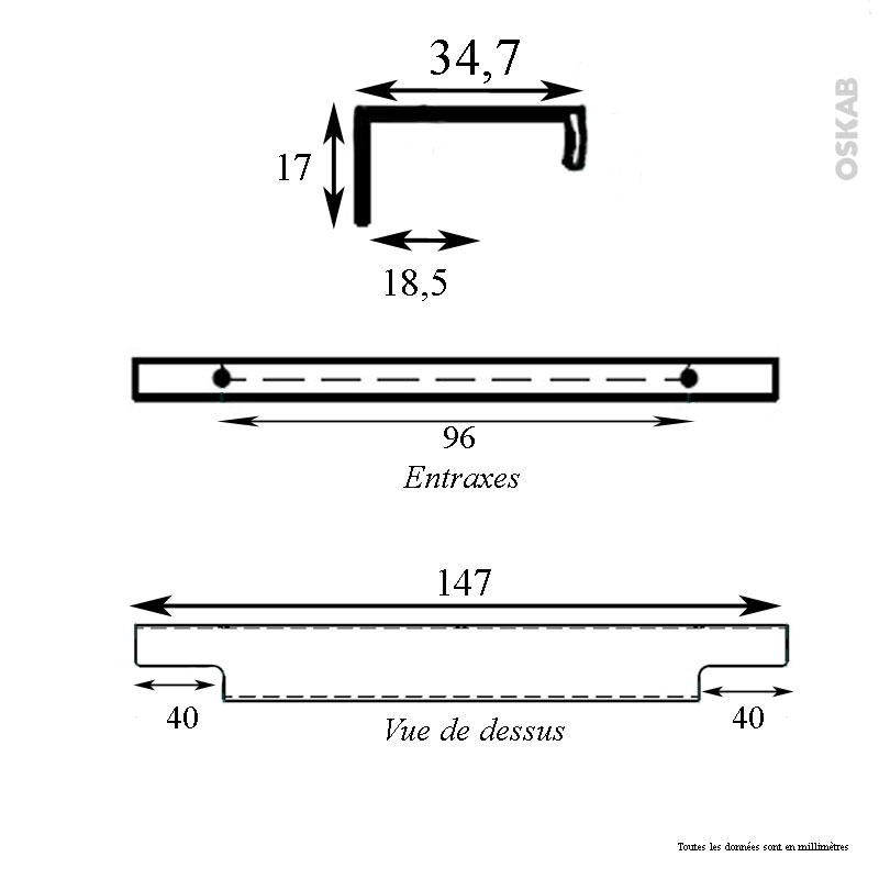 poign e de meuble de cuisine n 37 inox bross 15 cm entraxe 96 mm sokleo oskab. Black Bedroom Furniture Sets. Home Design Ideas