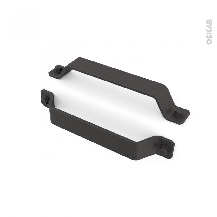 Poign e de meuble de cuisine n 59 acier noir mat 18 cm for Poignee cuisine noire