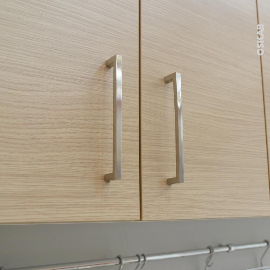 Poign e de meuble de cuisine n 19 inox bross 13 7 cm for Poignee meuble cuisine inox