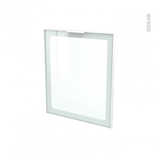 Fa ade blanche alu vitr e porte n 21 avec poign e l60 x h70 cm sokleo oskab - Cuisine avec vitre ...
