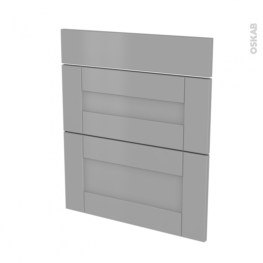 fa ades de cuisine 3 tiroirs n 58 filipen gris l60 x h70 cm oskab. Black Bedroom Furniture Sets. Home Design Ideas